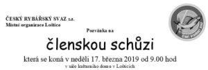 Pozvánka na členskou schůzi 17.3.2019 – 9:00