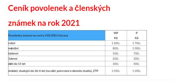 Ceník povolenek a členských známek na rok 2021
